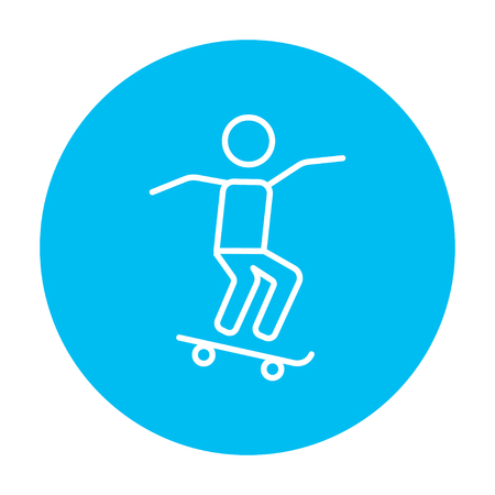 Man riding on a skateboard line icon for web, mobile and infographics. Vector white icon on the light blue circle isolated on white background. Vettoriali