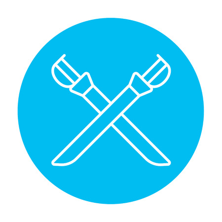 longsword: Crossed saber line icon for web, mobile and infographics. Vector white icon on the light blue circle isolated on white background.
