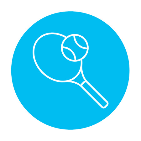 Tennis racket and ball line icon for web, mobile and infographics. Vector white icon on the light blue circle isolated on white background. 向量圖像