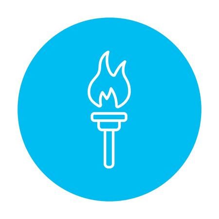 symbol sport: Burning olympic torch line icon for web, mobile and infographics. Vector white icon on the light blue circle isolated on white background.