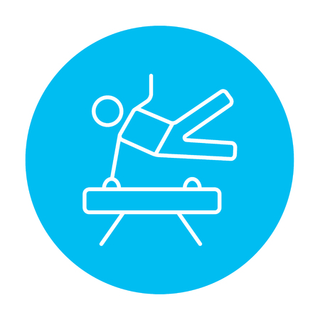 pommel: Gymnast exercising on the pommel horse line icon for web, mobile and infographics. Vector white icon on the light blue circle isolated on white background.