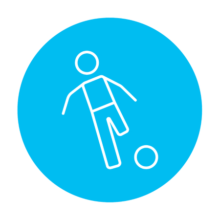 Soccer player with ball line icon for web, mobile and infographics. Vector white icon on the light blue circle isolated on white background.