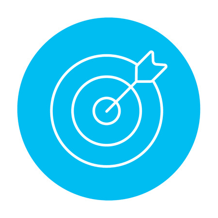 Target board and arrow line icon for web, mobile and infographics. Vector white icon on the light blue circle isolated on white background.