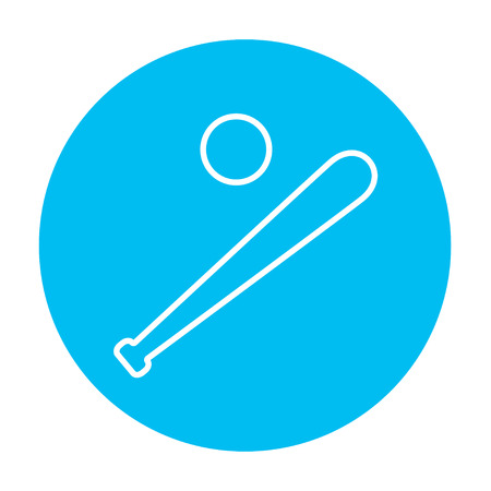 Baseball bat and ball line icon for web, mobile and infographics. Vector white icon on the light blue circle isolated on white background. Illustration
