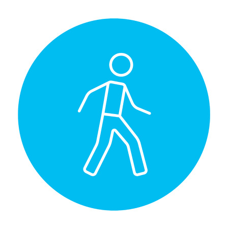 Pedestrianism line icon for web, mobile and infographics. Vector white icon on the light blue circle isolated on white background.