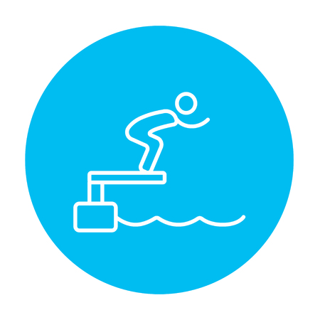 diving platform: Swimmer jumping from starting block in pool line icon for web, mobile and infographics. Vector white icon on the light blue circle isolated on white background. Illustration