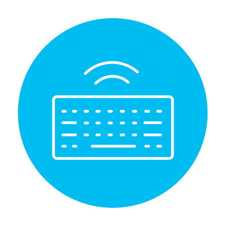 wireless icon: Wireless keyboard line icon for web, mobile and infographics. Vector white icon on the light blue circle isolated on white background. Illustration