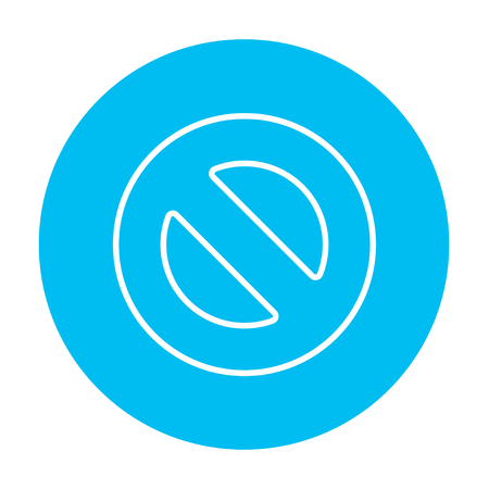 disallowed: Not allowed sign line icon for web, mobile and infographics. Vector white icon on the light blue circle isolated on white background.