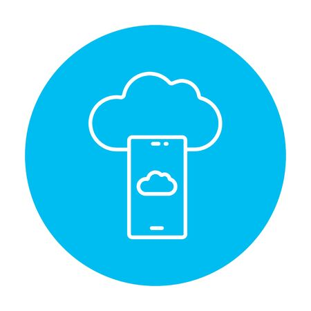 cellphone icon: Cloud and smartphone line icon for web, mobile and infographics. Vector white icon on the light blue circle isolated on white background.
