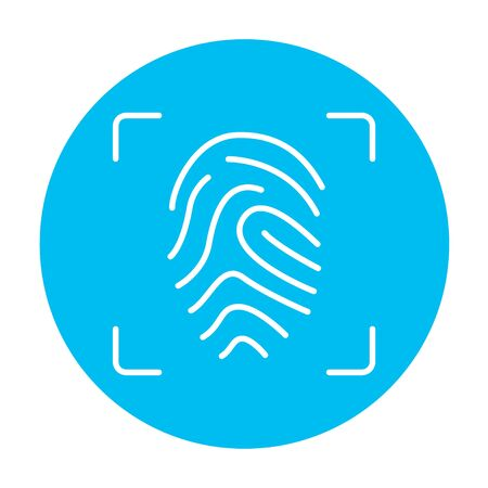 fingertip: Fingerprint scanning line icon for web, mobile and infographics. Vector white icon on the light blue circle isolated on white background.