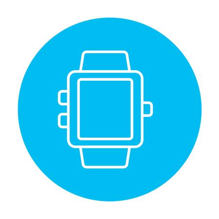 Web、モバイル、インフォ グラフィックのスマートウォッチ ライン アイコン。白い背景に分離された光の青い円の上の白いベクトルのアイコン。  イラスト・ベクター素材