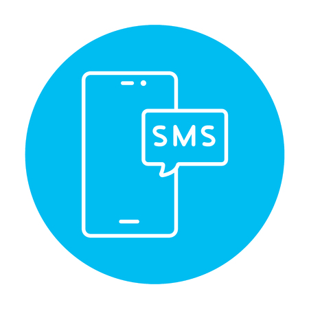 recieve: Smartphone with message line icon for web, mobile and infographics. Vector white icon on the light blue circle isolated on white background. Illustration