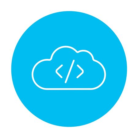 Transferring files cloud apps line icon for web, mobile and infographics. Vector white icon on the light blue circle isolated on white background. 矢量图像