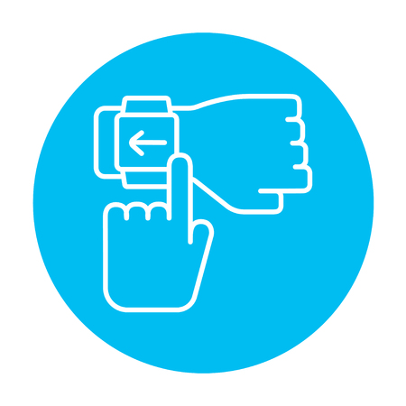 Smartwatch line icon for web, mobile and infographics. Vector white icon on the light blue circle isolated on white background. Illustration