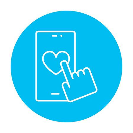 heart design: Smartphone with heart sign line icon for web, mobile and infographics. Vector white icon on the light blue circle isolated on white background.