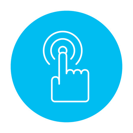 hand touch: Touch screen gesture line icon for web, mobile and infographics. Vector white icon on the light blue circle isolated on white background.