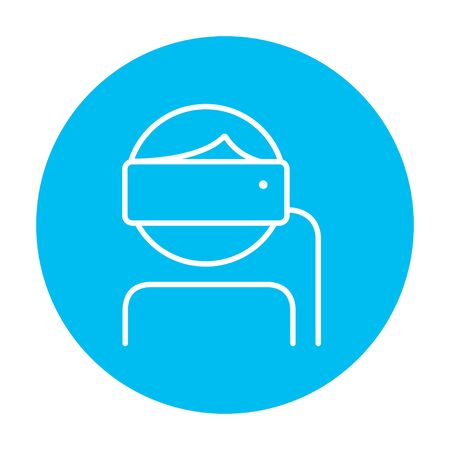 Man wearing virtual reality headset line icon for web, mobile and infographics. Vector white icon on the light blue circle isolated on white background. Illustration