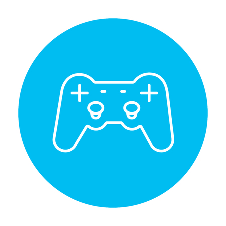handheld device: Joystick line icon for web, mobile and infographics. Vector white icon on the light blue circle isolated on white background. Illustration