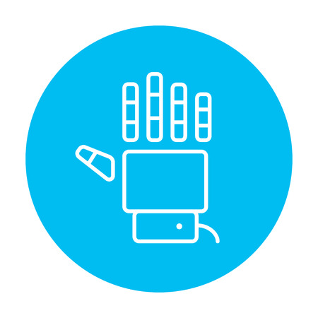 Robot hand line icon for web, mobile and infographics. Vector white icon on the light blue circle isolated on white background.