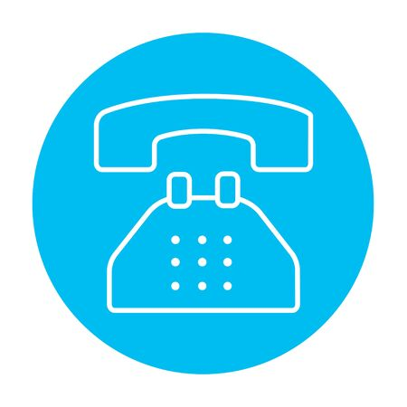 telephone line: Telephone line icon for web, mobile and infographics. Vector white icon on the light blue circle isolated on white background. Illustration