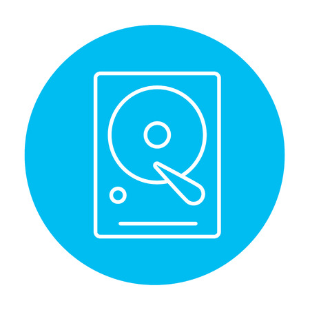 winchester: Hard disk line icon for web, mobile and infographics. Vector white icon on the light blue circle isolated on white background.