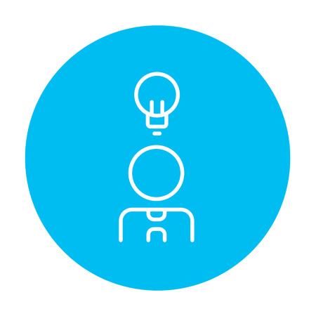 invent clever: Businessman with light bulb line icon for web, mobile and infographics. Vector white icon on the light blue circle isolated on white background.