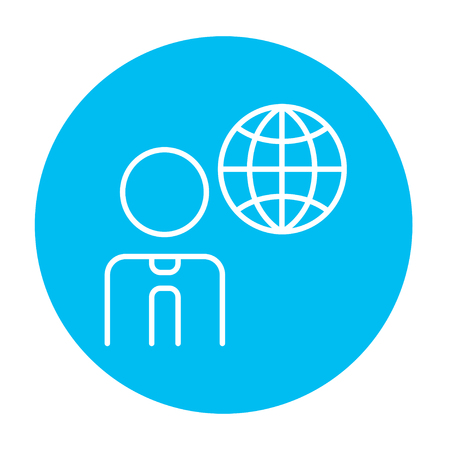 transnational: Man with globe line icon for web, mobile and infographics. Vector white icon on the light blue circle isolated on white background.