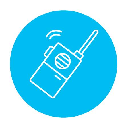 Icône de ligne de radio portable pour le web, mobile et infographie. Icône de vecteur blanc sur le cercle bleu clair isolé sur fond blanc. Banque d'images - 49889820