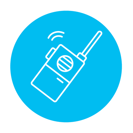 transmit: Portable radio set line icon for web, mobile and infographics. Vector white icon on the light blue circle isolated on white background. Illustration