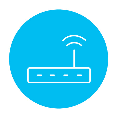 wireless icon: Wireless router line icon for web, mobile and infographics. Vector white icon on the light blue circle isolated on white background.