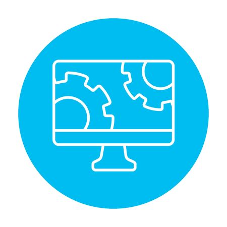 Computer monitor with gears line icon for web, mobile and infographics. Vector white icon on the light blue circle isolated on white background.