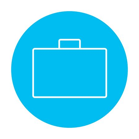Briefcase line icon for web, mobile and infographics. Vector white icon on the light blue circle isolated on white background.