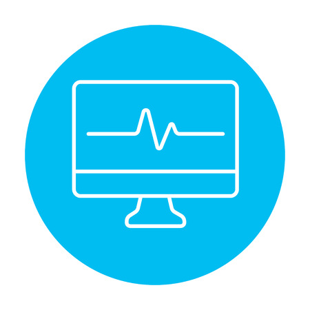 heart monitor: Heart beat monitor line icon for web, mobile and infographics. Vector white icon on the light blue circle isolated on white background. Illustration