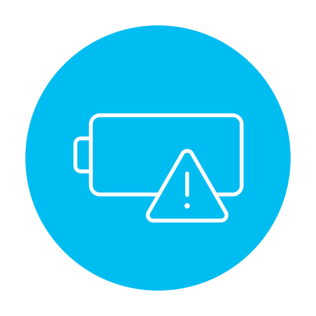 warning indicator: Empty battery line icon for web, mobile and infographics. Vector white icon on the light blue circle isolated on white background. Illustration