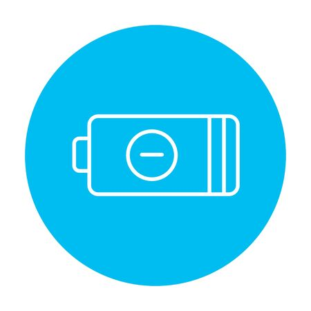 Low power battery line icon for web, mobile and infographics. Vector white icon on the light blue circle isolated on white background. Illusztráció