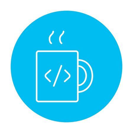 Cup of coffee with a code sign line icon for web, mobile and infographics. Vector white icon on the light blue circle isolated on white background. 矢量图像