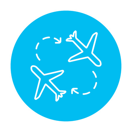 illuminator: Airplanes line icon for web, mobile and infographics. Vector white icon on the light blue circle isolated on white background. Illustration