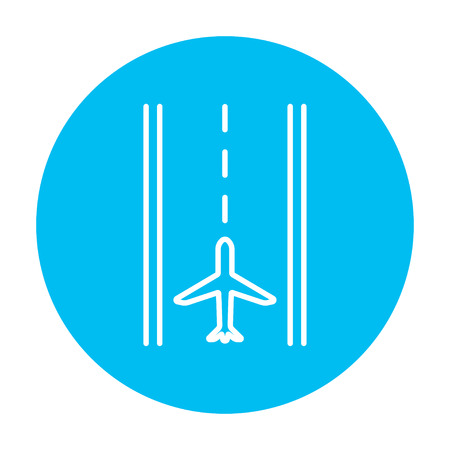 airport runway: Airport runway line icon for web, mobile and infographics. Vector white icon on the light blue circle isolated on white background.