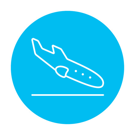 Landing aircraft line icon for web, mobile and infographics. Vector white icon on the light blue circle isolated on white background.