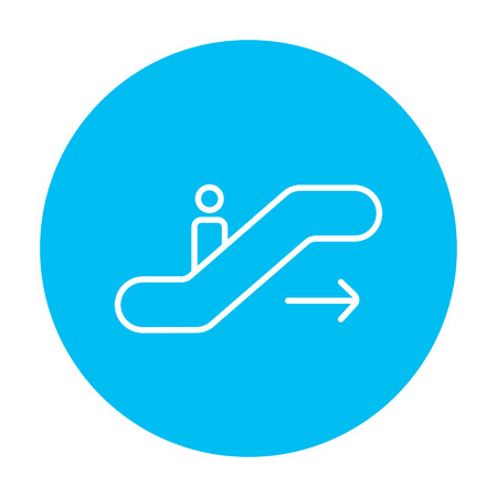 Gangway of the plane line icon for web, mobile and infographics. Vector white icon on the light blue circle isolated on white background.