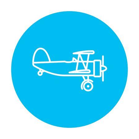 Icona linea del piano di Elica per il web, mobile e infografica. Vector bianco icona sul cerchio azzurro isolato su sfondo bianco. Archivio Fotografico - 49890255
