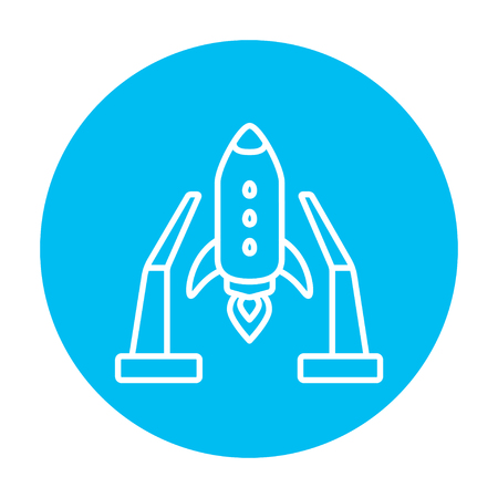 takeoff: Space shuttle on a take-off area line icon for web, mobile and infographics. Vector white icon on the light blue circle isolated on white background.