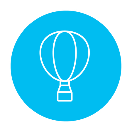 Hot air balloon line icon for web, mobile and infographics. Vector white icon on the light blue circle isolated on white background. Ilustrace