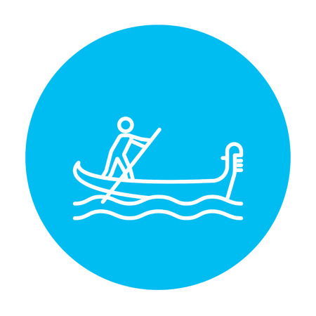 people icon: Sailor rowing a boat line icon for web, mobile and infographics. Vector white icon on the light blue circle isolated on white background.