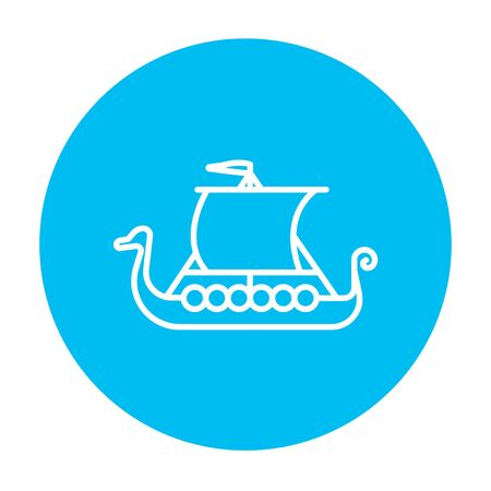 shallop: Old ship line icon for web, mobile and infographics. Vector white icon on the light blue circle isolated on white background. Illustration