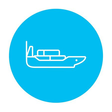 Cargo container ship line icon for web, mobile and infographics. Vector white icon on the light blue circle isolated on white background. Illustration