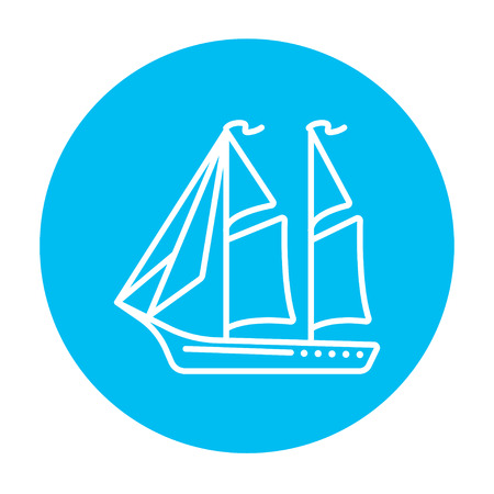 Sailboat line icon for web, mobile and infographics. Vector white icon on the light blue circle isolated on white background.