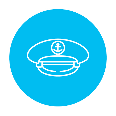 captain cap: Captain peaked cap line icon for web, mobile and infographics. Vector white icon on the light blue circle isolated on white background.