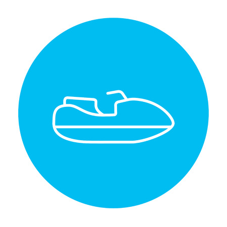 Jet scooter line icon for web, mobile and infographics. Vector white icon on the light blue circle isolated on white background.