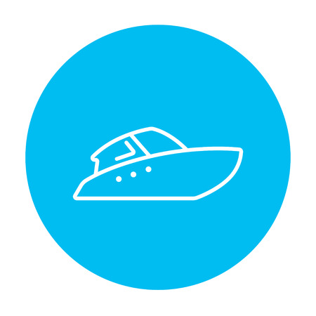 hand craft: Speedboat line icon for web, mobile and infographics. Vector white icon on the light blue circle isolated on white background.